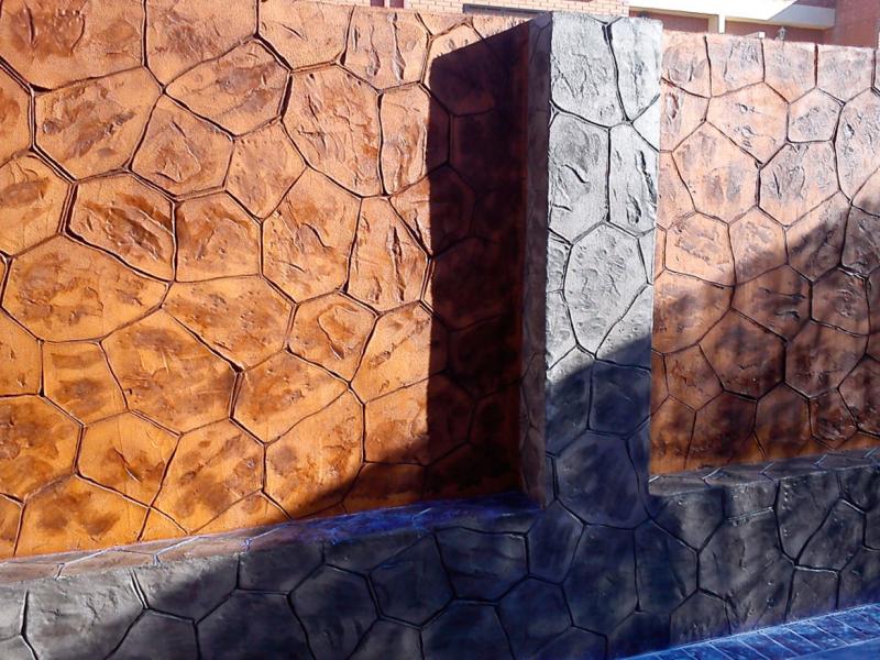 Hormigon impreso vertical paredes y muros exteriores